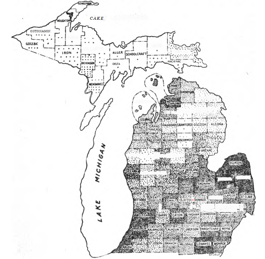 Fig. 129. — Map showing bee population of Michigan