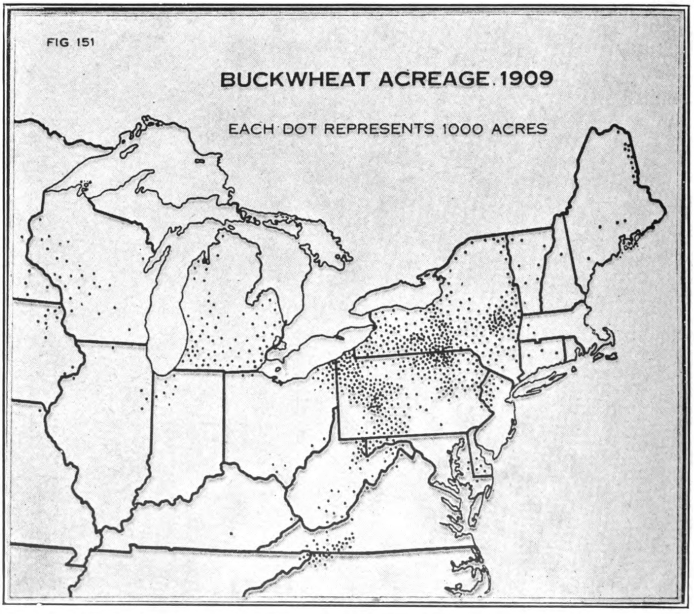 Fig. 33. — Acreage of buckwheat in the United States; production centers chiefly in New York and Pennsylvania - (After Baker.)