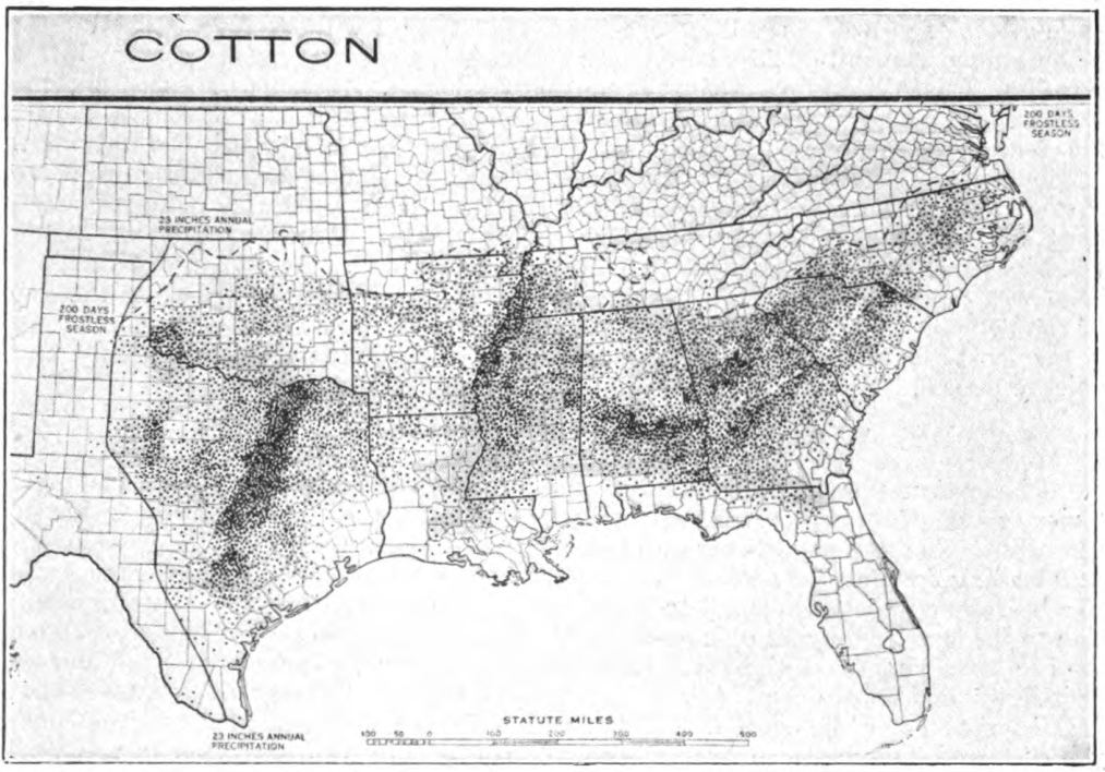 Fig. 51. — Acreage of cotton in the United States. In 1919 there were 33,960,000 acres. (After Raker. Geog. World's Agr.)
